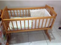 PINE COT / CRADLE / CRIB with WATERPROOF MATTRESS AND BEDDING