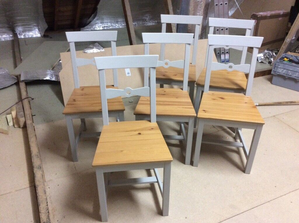 6 X Grey Wood Ikea Chairs Current Range In