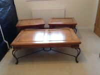 Antique-style Klausner pine coffee table and two matching lamp tables