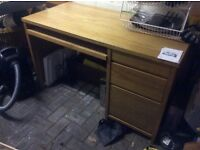 Solid pine computer desk with drawers-for study good quality and condition