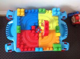 Mega Blok table & selection of bloks