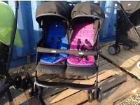 Joie twin pushchair inc raincovers Immaculate