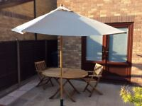John Lewis 2m Wooden Parasol, Oyster, FSC-Certified (Sycamore)