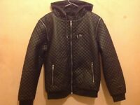 Mens Lacoste Quilted Leather Jacket size L