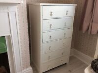 Arts and crafts, painted oak chest of drawers