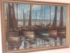 Oil on canvas Painting of Falmouth boats