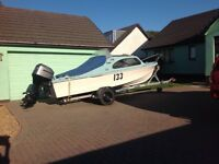 Shetland 535 for sale on trailer with 75hp mariner outboard & accessories for sale