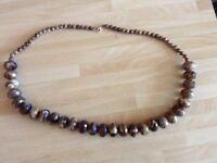 A Vintage Brown Faux Stone Tiger Eye Necklace and Stone Chain