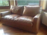 Tan leather three piece suite