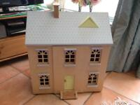 Wooden Dolls House with furniture and figures