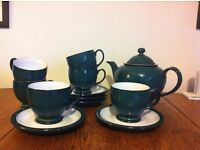 DENBY Greenwich teapot & 6 cups & saucers - excellent condition