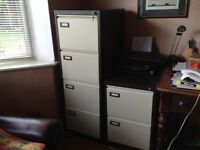Large locking metal four drawer filing cabinet. Brown with cream drawer fronts. Excellent condition