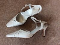 Cream Satin Ankle Strap Shoes
