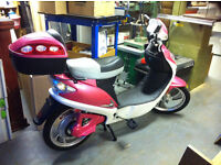 Eco Pink Electric Scooter / Moped with top box. NO TAX, MOT OR LICENSE NEEDED, used for sale  Dorset