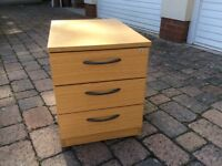 3 DRAWER BEECH EFFECT CABINET