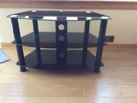 Black glass 3 shelf television stand