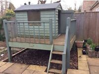 Bespoke kids playhouse, 6' x 4', decking and stairs included. Buyer to dismantle
