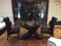 Glass table 6 chairs