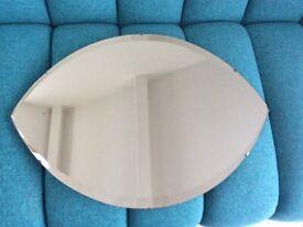 Galvo Vintage Art Deco Bevelled Edge Wall Mirror Frameless Retro