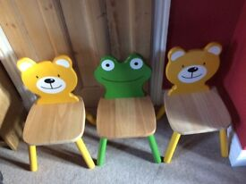 Children's Wooden Pintoy table and 3 chairs