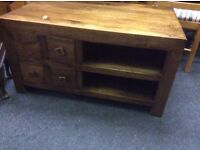 Chunky style Fruitwood tv stand coffee table