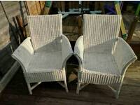 2 x large wicker chairs Lloyd Loom style *REDUCED*