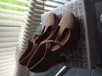 Ladies suede beige t-bar shoes
