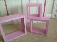 Pastel Pink set of three box shelves