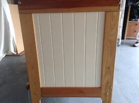 Lovely pine and cream panelled solid wood cot with mattress and Sidney and Lola bumper and duvet