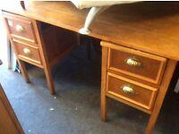 Vintage.oak pedestal desk