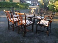 Mahogony dining table and 6 chairs
