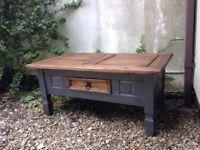 Rustic look coffee table. Dark grey chalk painted legs with dark stained top