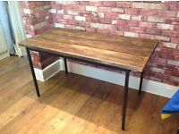 BESPOKE HANDMADE INDUSTRIAL TABLE WITH RECLAIMED SCAFFOLD BOARD TABLE TOP - CAN DELIVER