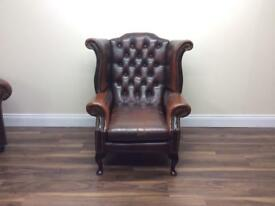 Vintage brown leather Wingback Armchair