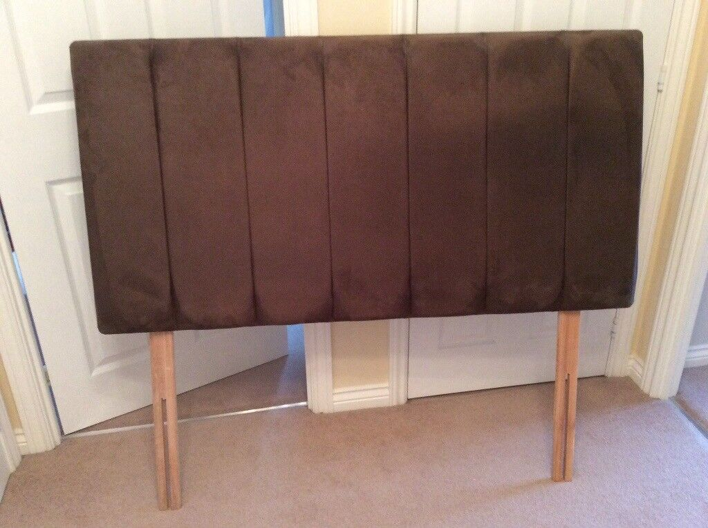 Headboard Double Bed Faux Suede Brown Very Good Condition