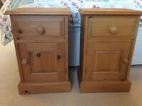 Pair of pine bedside cabinets with drawer and cupboard
