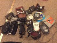 Job lot vintage camera accessories & bags: Pentax, Weston Master light meters, Tully, Durst etc