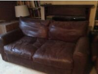 Two high quality brown leather sofas