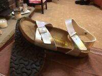Ladies Berkinstock full strap sandals (metallic range).