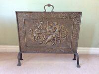 Ornate Antique Brass Fireguard