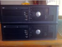 2 x Dell Optiplex 745 Desktops. NOT WORKING. For Spares and Repairs.