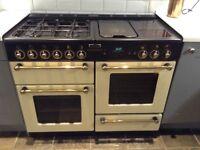 Rangemaster duel fuel cream and black cooker, good condition