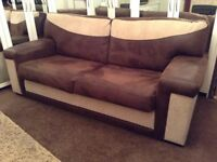 2 X Brown Cream 3 seater sofas settles suite
