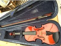 3/4 violin in case with bow