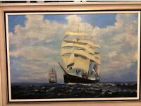 Large oil painting of old sailing ship