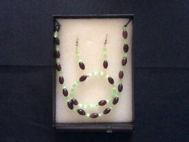 Handmade beaded necklace, bracelet and earring set