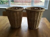 Pair of sturdy woven waste paper bins