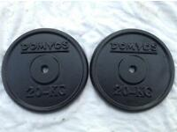 2 x 20kg Domyos Standard Cast Iron Weights