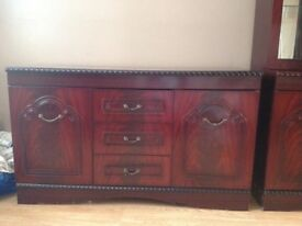 Mahogany effect display cabinet and Sideboard,