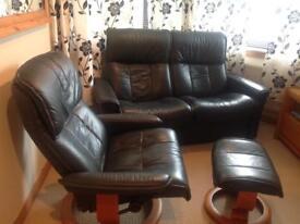 Ekornes Stressless recliner sofa, chair and foot stool